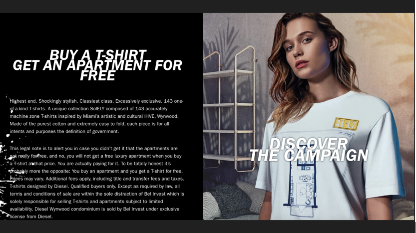 The Most Expensive T-shirt in History: Buy One Diesel T Shirt, Get a Free Condo